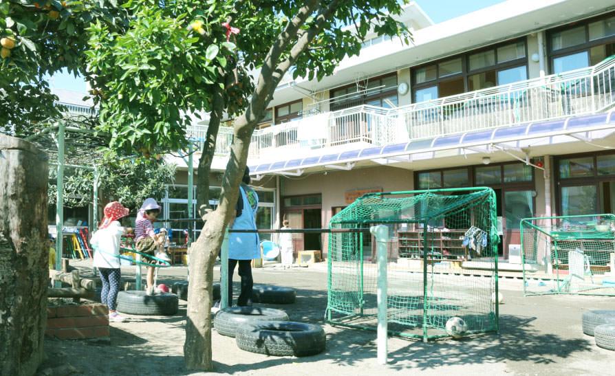 豊川保育園の園庭から園舎を望む